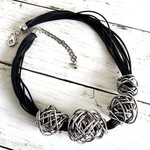 Chico's Black Leather Necklace W/Silver Wire Balls